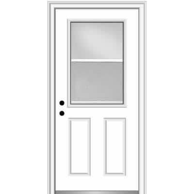 34 in. x 80 in. Classic Right-Hand Inswing 1/2-Lite Clear Vented Primed Steel Prehung Front Door on 4-9/16 in. Frame
