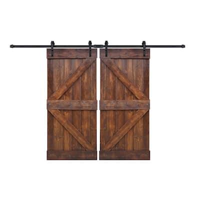 72 in x 84 in K Series Dark Walnut DIY Finished Knotty Pine Wood Double Sliding Barn Door Slab with Hardware Kit