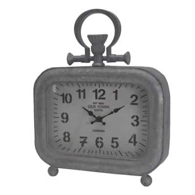 Old Town Short Table Clock - Silver