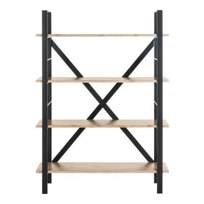 55 in. Oak/Black Metal 4-shelf Etagere Bookcase with Open Back