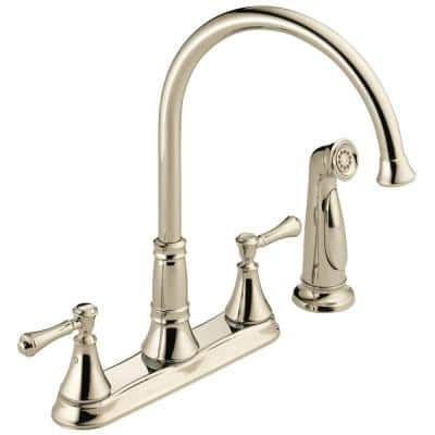 Cassidy 2-Handle Standard Kitchen Faucet with Side Sprayer in Polished Nickel