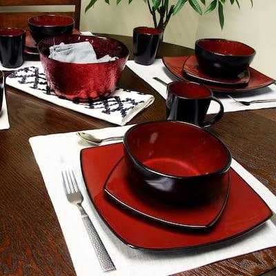 Soho Lounge 16-Piece Casual Burgundy Stone Dinnerware Set (Service for 6)
