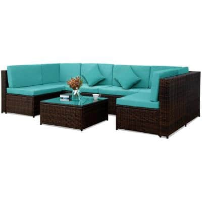 Belle Mediterranean Style Brown 7-Pieces Wicker Outdoor Sectional Set Sofas with Blue Cushions
