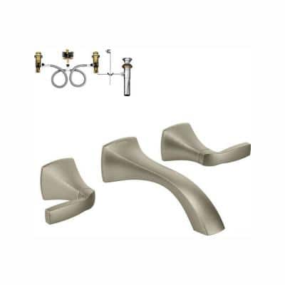 Voss 2-Handle Wall-Mount Bathroom Faucet in Brushed Nickel (Valve Included)