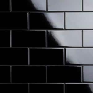 Crown Heights 3 in. x 6 in. Glossy Black Ceramic Wall Tile (6.03 sq. ft. /Case)
