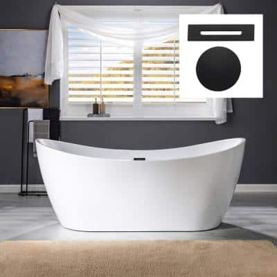 Murcia  71 in. Acrylic FlatBottom Double Slipper Bathtub with Matte Black Overflow and Drain  Included in White
