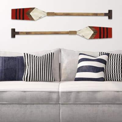 Red Wooden Nautical Oar Wall Art