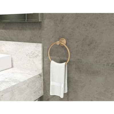 Dia Wall-Mounted Towel Ring in Brushed Bronze