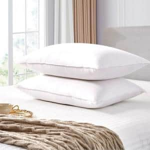330-Thread White Goose Feather Count Back Sleeper Medium Density and Down Fiber Jumbo Size Pillow (2-Pack)