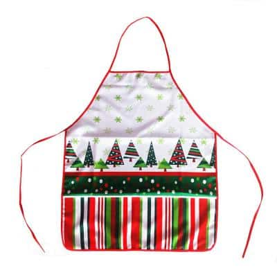 23.6 in. x 28.3 in. Christmas Funny Apron Xmas Tree Bib Apron for Kitchen Party Creative Gift