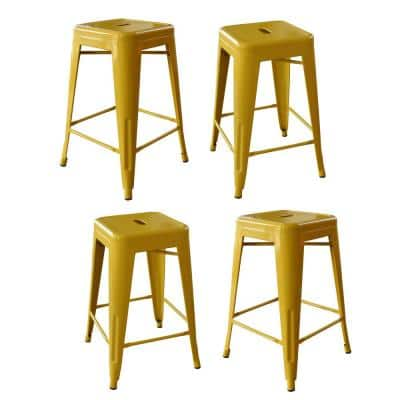 Loft Style 24 in. Stackable Metal Bar Stool in Gold (Set of 4)