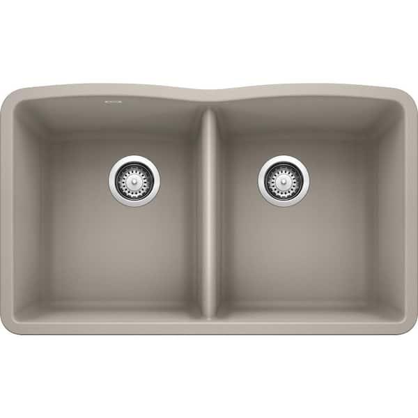 Blanco Diamond Undermount Granite Composite 32 06 In 50 Double Bowl Kitchen Sink Concrete Gray 442747 The Home Depot
