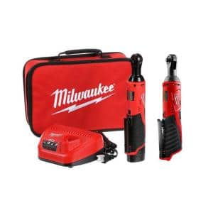 M12 12-Volt Lithium-Ion Cordless 3/8 in. and 1/4 in. Ratchet Kit (2-Tool) with Battery, Charger and Bag