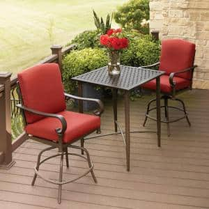 Oak Cliff 3-Piece Metal Outdoor Balcony Height Bistro Set with Chili Cushions