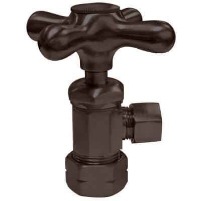 1/2 in. IPS x 3/8 in. O.D. Compression Outlet Angle Stop with Cross Handle, Oil Rubbed Bronze