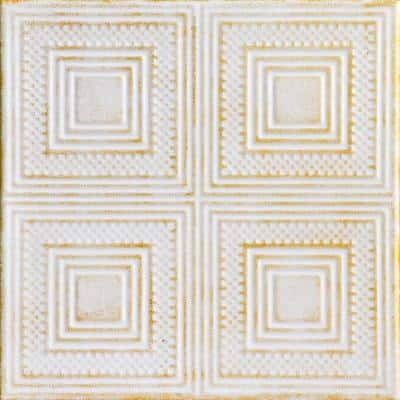 Nested Squares 1.6 ft. x 1.6 ft. Glue Up Foam Ceiling Tile in White Washed Gold