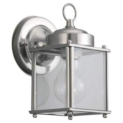 New Castle 1-Light Antique Brushed Nickel Outdoor Wall Lantern Sconce