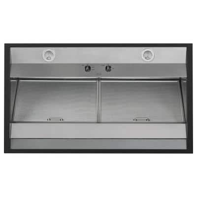 30 in. Range Hood Telescopic Downdraft System with Light in Matte Black, Fingerprint Resistant