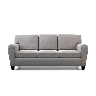 Abby 88 in. Gray Polyester Upholstered 3-Seater Rolled Arm Sofa