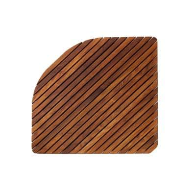 Oiled Brown Teak Indoor and Outdoor Shower and Spa Mat with Rounded Edge 30 in. x 30 in.