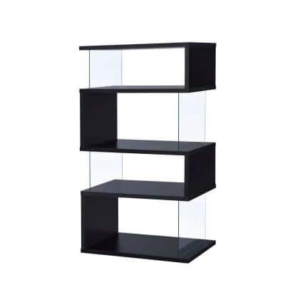 63 in. Black Wood  4-shelf Etagere Bookcase with Open Back
