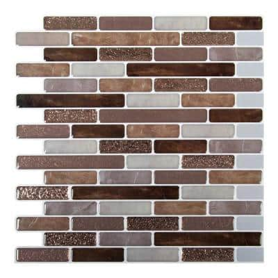 6-Pieces 10 in. x 10 in. Brown Truu Design Self-Adhesive Peel and Stick Accent Wall Tiles