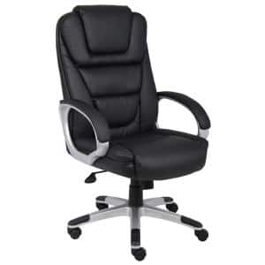 27 in. Width Big and Tall Black Faux Leather Executive Chair with Swivel Seat