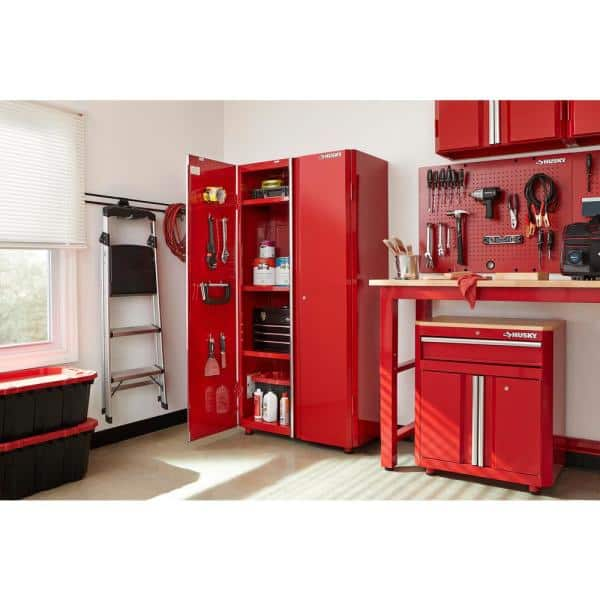 Husky Ready To Assemble 23 Gauge Steel Freestanding Garage Cabinet In Red 36 W X 72 H 18 D Homd36xdb22 The Home Depot