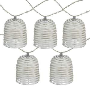 10 in. 10-Light LED White Lantern Mini Christmas Lights