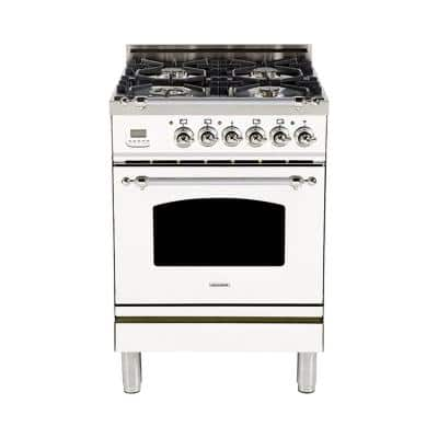24 in. 2.4 cu. ft. Single Oven Dual Fuel Italian Range with True Convection, 4 Burners, Chrome Trim in White
