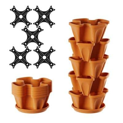 Terracotta Plastic Vertical Stacking Planter Tower (5-Pack)