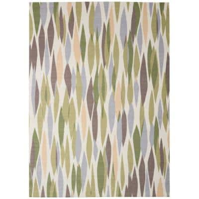 Bits and Pieces Violet 8 ft. x 11 ft. Geometric Modern Indoor/Outdoor Area Rug