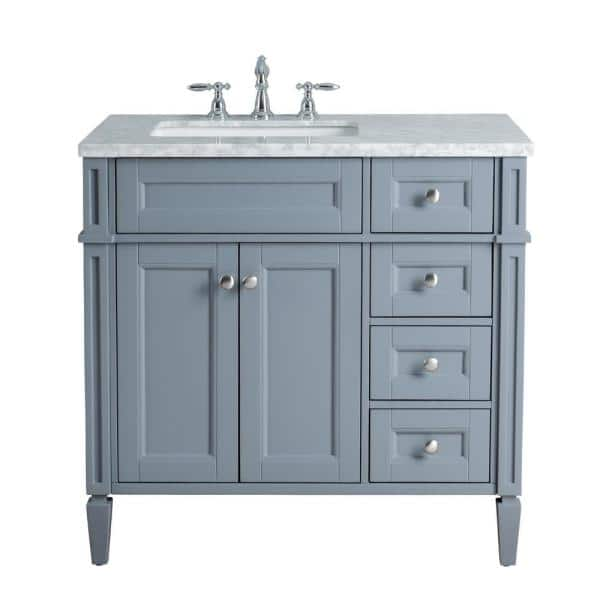 Stufurhome Anastasia French 36 In Grey Single Sink Bathroom Vanity With Marble Vanity Top And White Basin Hd 1524g 36 Cr The Home Depot