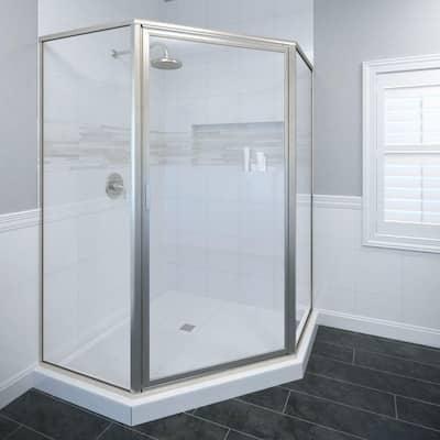 Deluxe 23-3/8 in. x 68-5/8 in. Framed Neo-Angle Hinged Shower Door in Brushed Nickel
