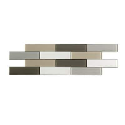 Subway Matted 12 in. x 4 in. Rustic Clay Glass Decorative Tile Backsplash (3-Pack)