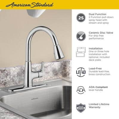 Colony Pro Single-Handle Pull-Down Sprayer Kitchen Faucet in Stainless Steel