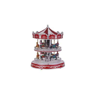 12 in. Animated Turning Double Decker Carousel with LED Illumination