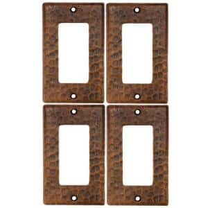 1 Gang Hammered Copper Ground Fault/Rocker GFI Switch Plate, Oil Rubbed Bronze (Quantity 4)