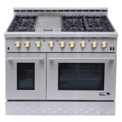 Entree 48 in. 7.2 cu. ft. Professional Style Gas Range with Convection Oven in Stainless Steel and Gold