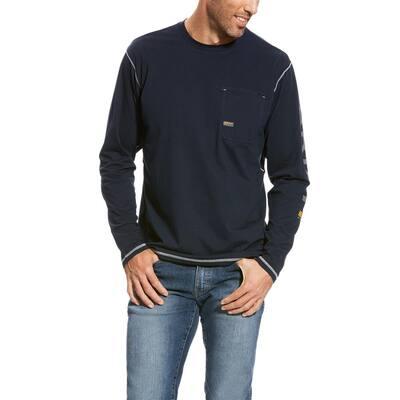 Men's Size X-Large Navy Rebar Logo Long Sleeve Work T-Shirt