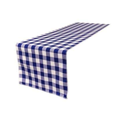 14 in. x 108 in. White and Royal Blue Polyester Gingham Checkered Table Runner