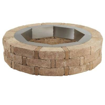 RumbleStone 46 in. x 10.5 in. Round Concrete Fire Pit Kit No. 1 in Cafe with Round Steel Insert