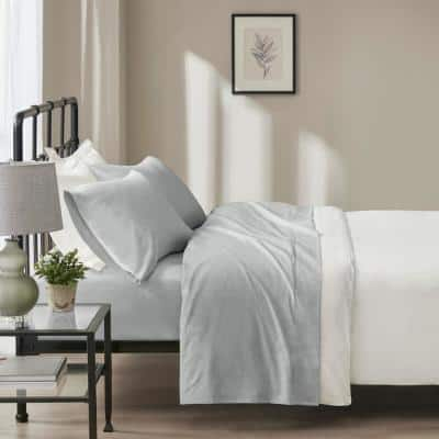 Oversized Flannel Cotton 4-Piece Grey Solid Queen Sheet Set