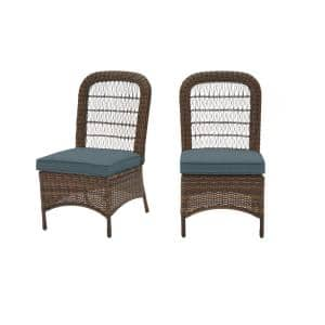 Beacon Park Brown Wicker Outdoor Patio Armless Dining Chair with Sunbrella Denim Blue Cushions (2-Pack)