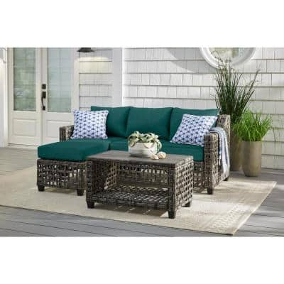 Briar Ridge 3-Piece Brown Wicker Outdoor Patio Sectional Sofa with CushionGuard Malachite Green Cushions