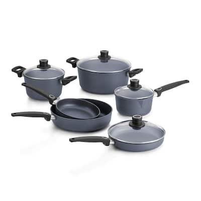 Diamond LITE 10-Piece Cast Aluminum Nonstick Cookware Set in Gray