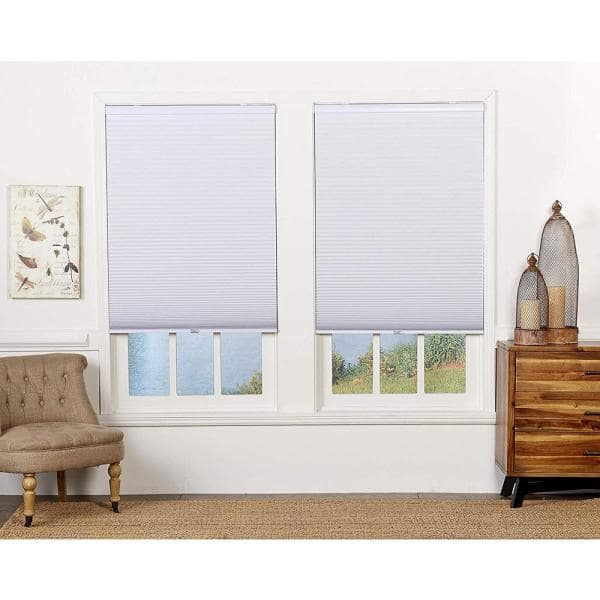 Perfect Lift Window Treatment Cut To Width White Cordless Blackout Cellular Shade 34 5 In W X 64 In L Qewt344640 The Home Depot