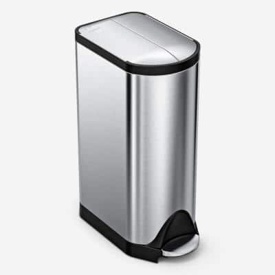 30-Liter Fingerprint-Proof Brushed Stainless Steel Butterfly Step-On Trash Can