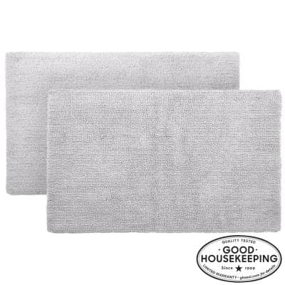Shadow Gray 17 in. x 24 in. Cotton Reversible Bath Rug (Set of 2)