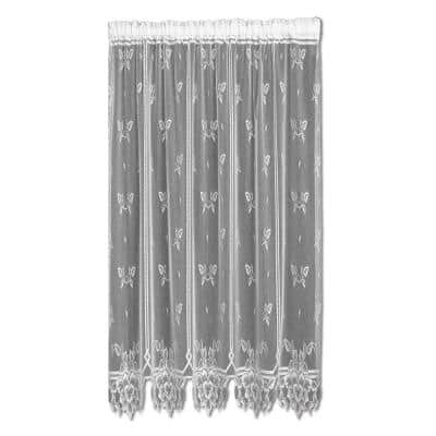 Heirloom White Polyester Light Filtering Curtain Panel - 60 in. W x 84 in. L